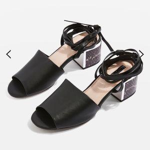 Chunky low heel sandals